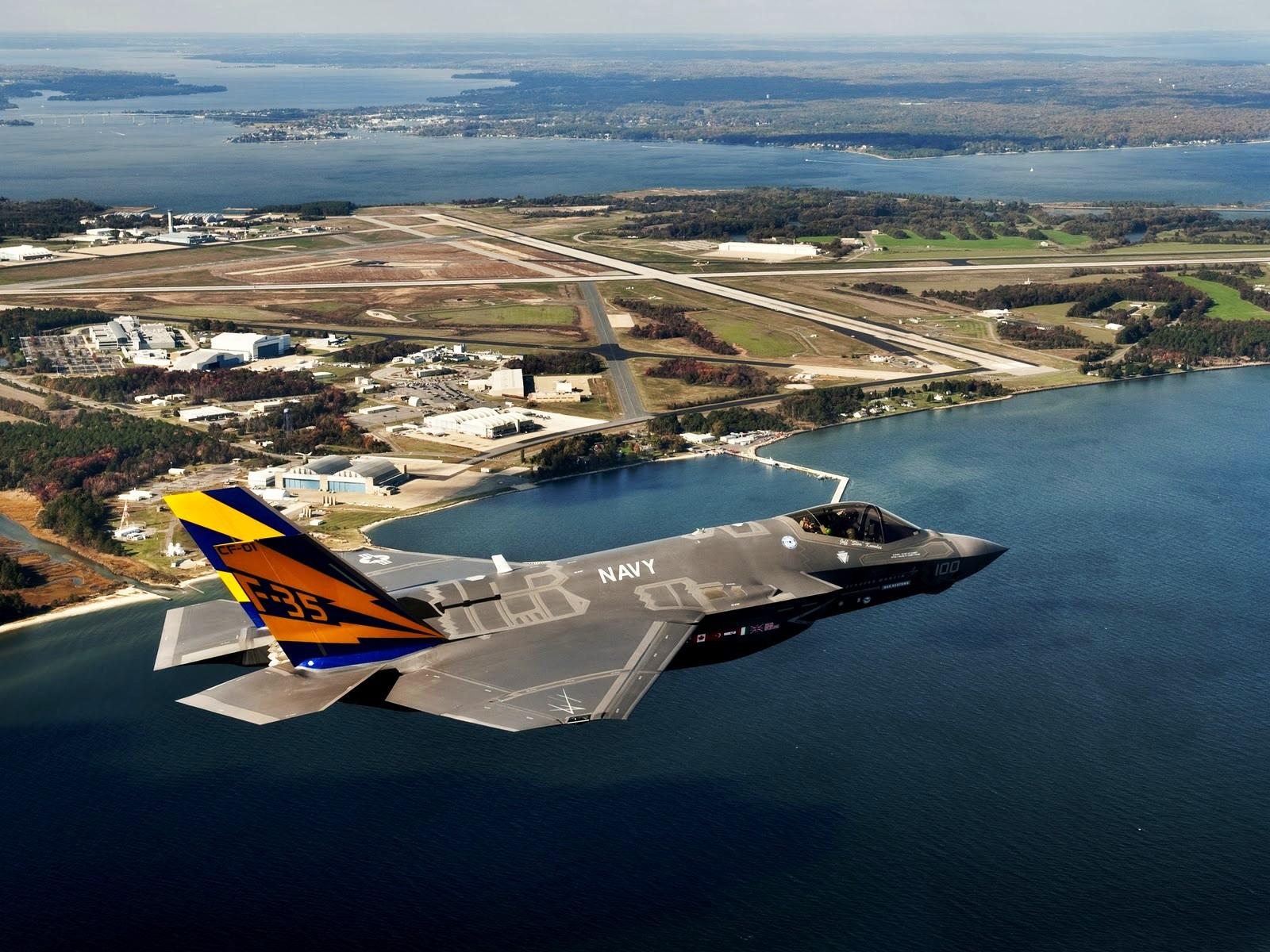 military-f35-lightning-ii-martin-f-35-ocean-lake-lockheed-water-airport-jet-plane-airplane-runway-sea-wallpaper-background-free